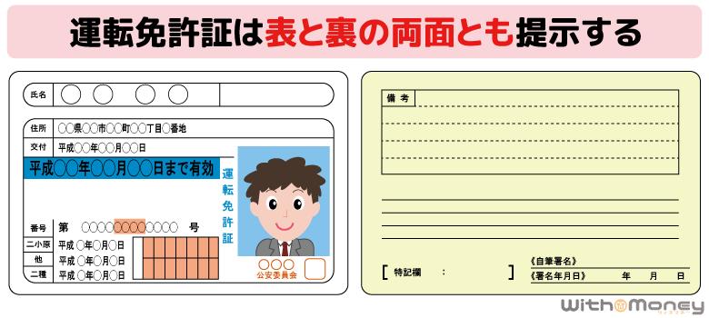 運転免許証は表と裏の両方とも提出する