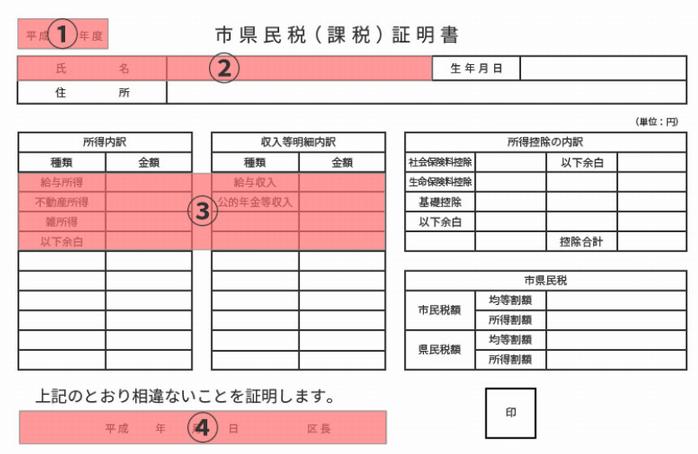 所得証明書サンプル