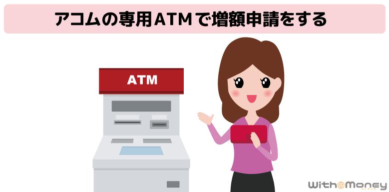 アコムの専用ATMで増額申請をする