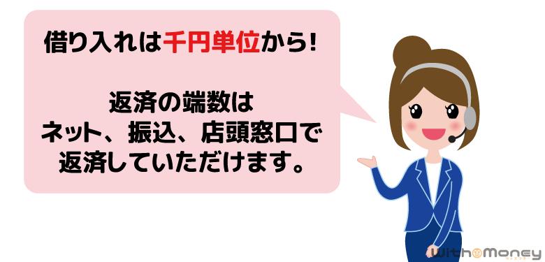 アコムオペレーター「アコムの借入は千円単位から!」
