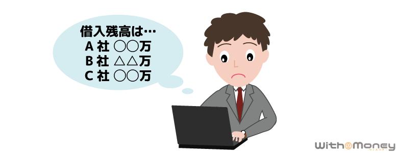 パソコンで借金の状況を確認する男性