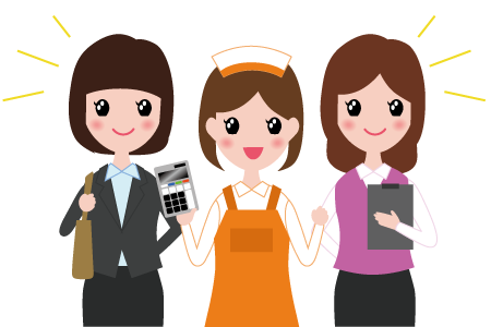 働く3人の女性