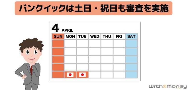 三菱UFJ銀行カードローン「バンクイック」は土日祝日も審査を実施